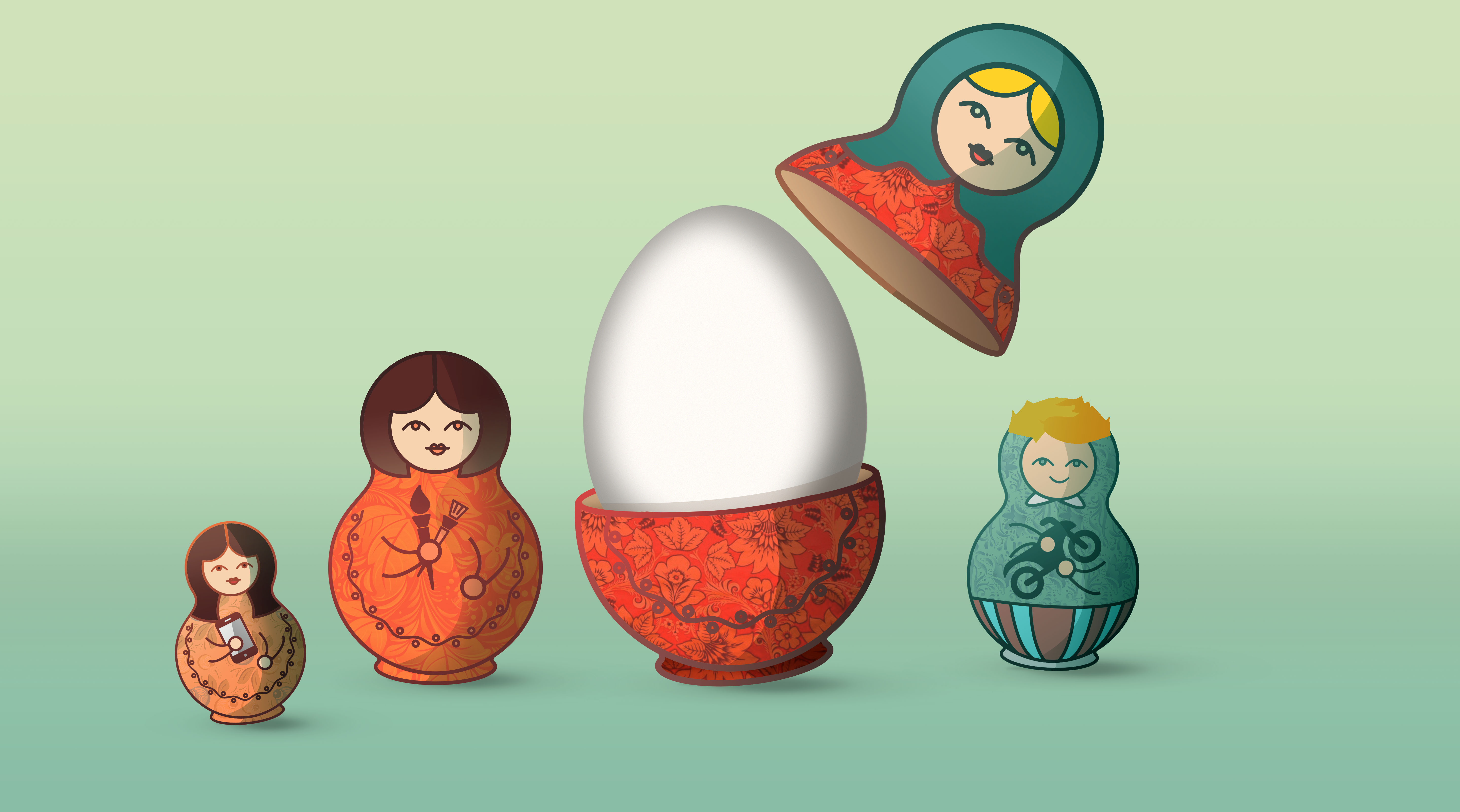 Happy Birthday, Mudda! Have some matryoshka puppets!
